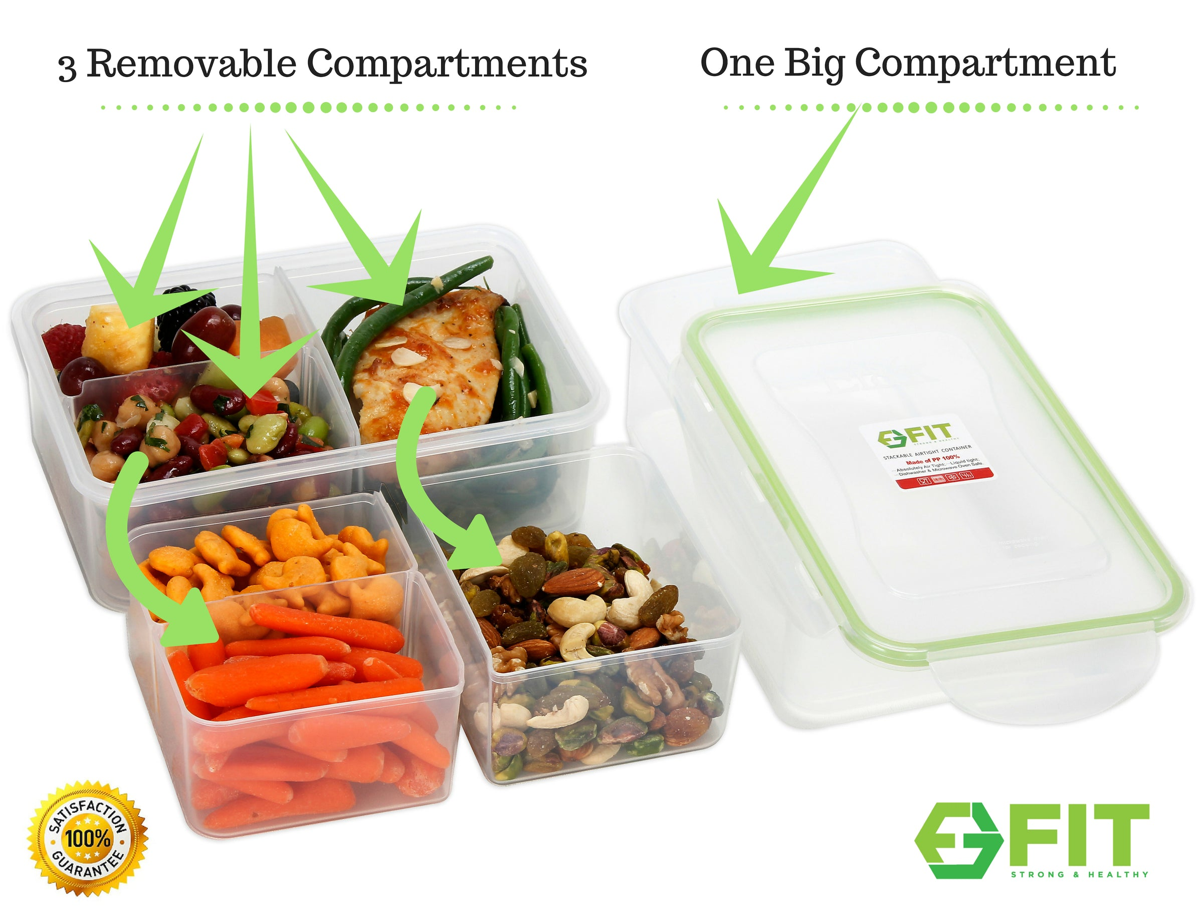 Bento Lunch Box Meal Prep Containers 3 Pack 39 Oz 3 Removable Compartments Bento Boxes For Adults Kids Lunchbox Fit Strong Healthy
