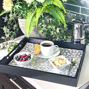 Black Decorative Tray with Handles and Silver Placemat - Coffee Table Tray, Serving Tray, Matte Wood Finish