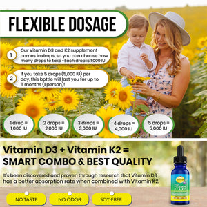 Liquid Vitamin D3 K2 Drops with MCT Oil 5000 IU - Organic, Vegan, No Taste, No Odor, 1000 IU per Drop