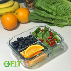 High Quality 3 Compartment Glass Meal Prep & Food Storage Containers Online - FIT Strong & Healthy