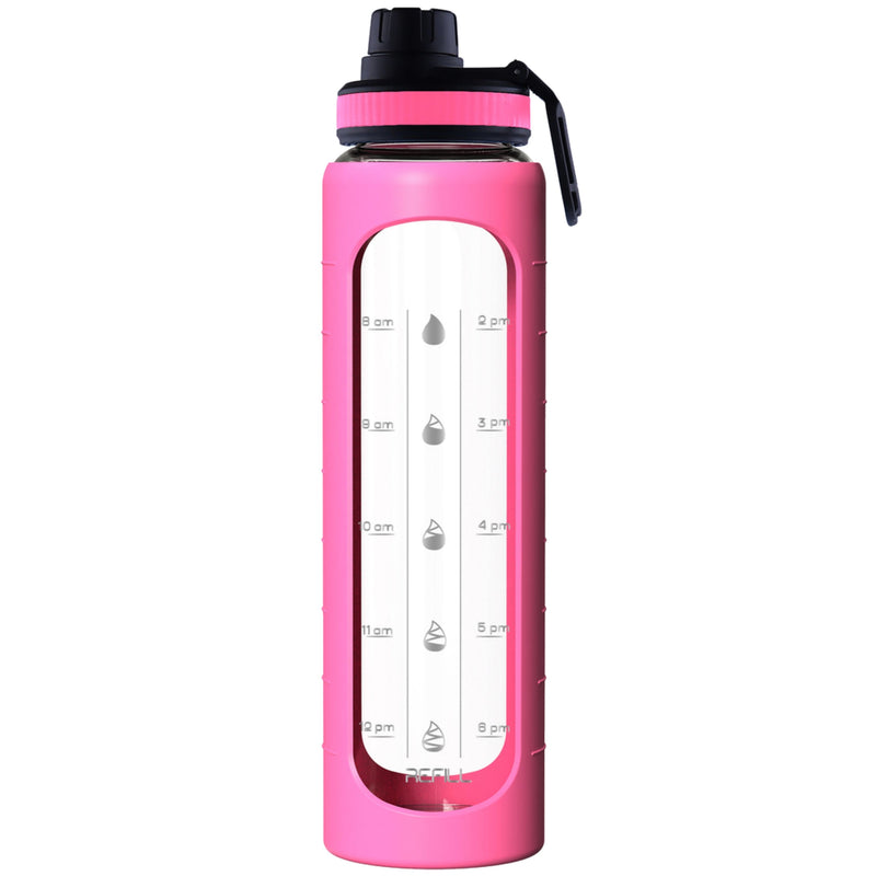 32 oz Glass Water Bottle with Time Marker Reminder, Removable PINK Silicone Sleeve and EXTRA LID