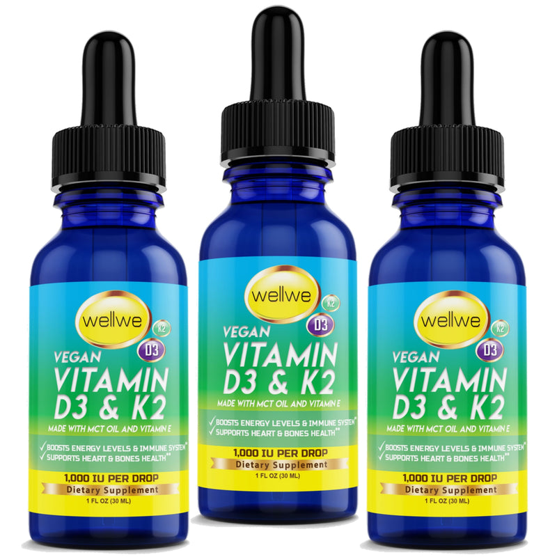 Liquid Vitamin D3 and K2 Drops with MCT Oil 5000 IU - BUNDLE OF 3
