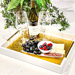 White Decorative Tray with Gold Handles and Placemat - Coffee Table Tray, Serving Tray, Matte Wood Finish