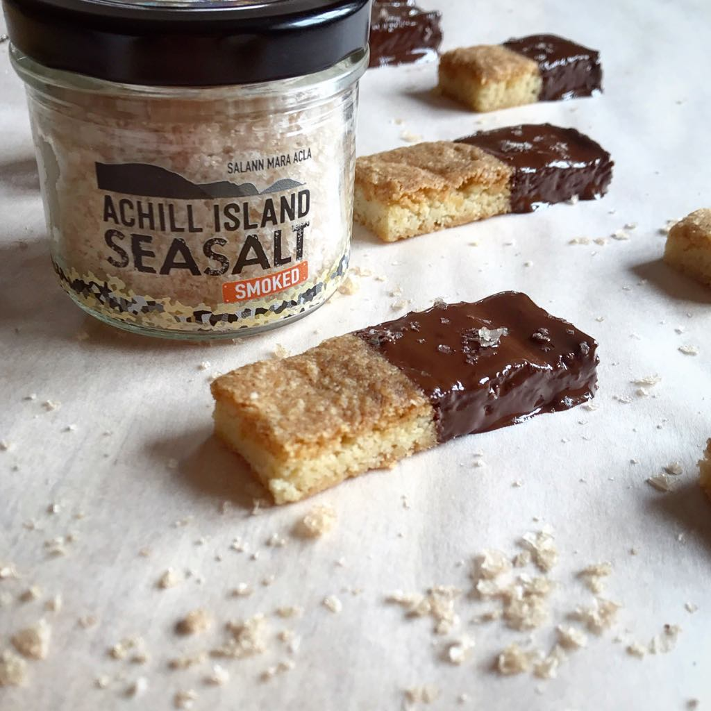 Chocolate Dipped Shortbread with Achill Island Smoked Sea Salt