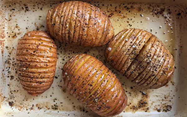 Hasselback Potatoes with The Connemara Organic Seaweed Company Seaweed Salt