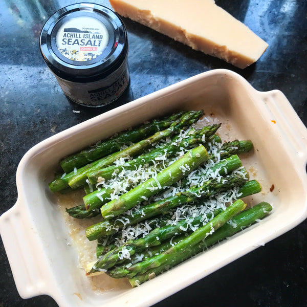 Roast Asparagus with Parmesan and Achill Island Smoked Sea Salt