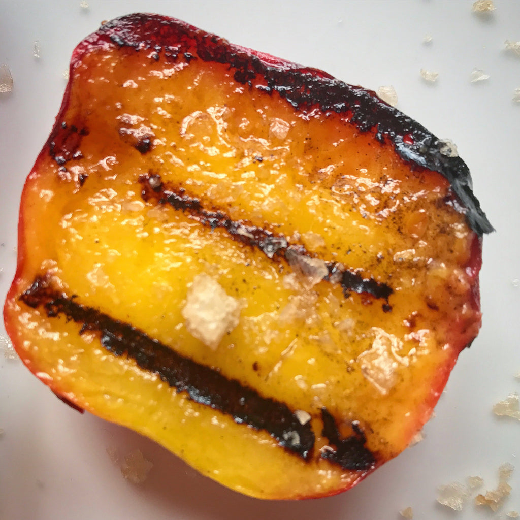 Charred Peaches with Maple Syrup and Achill Island Smoked Sea Salt