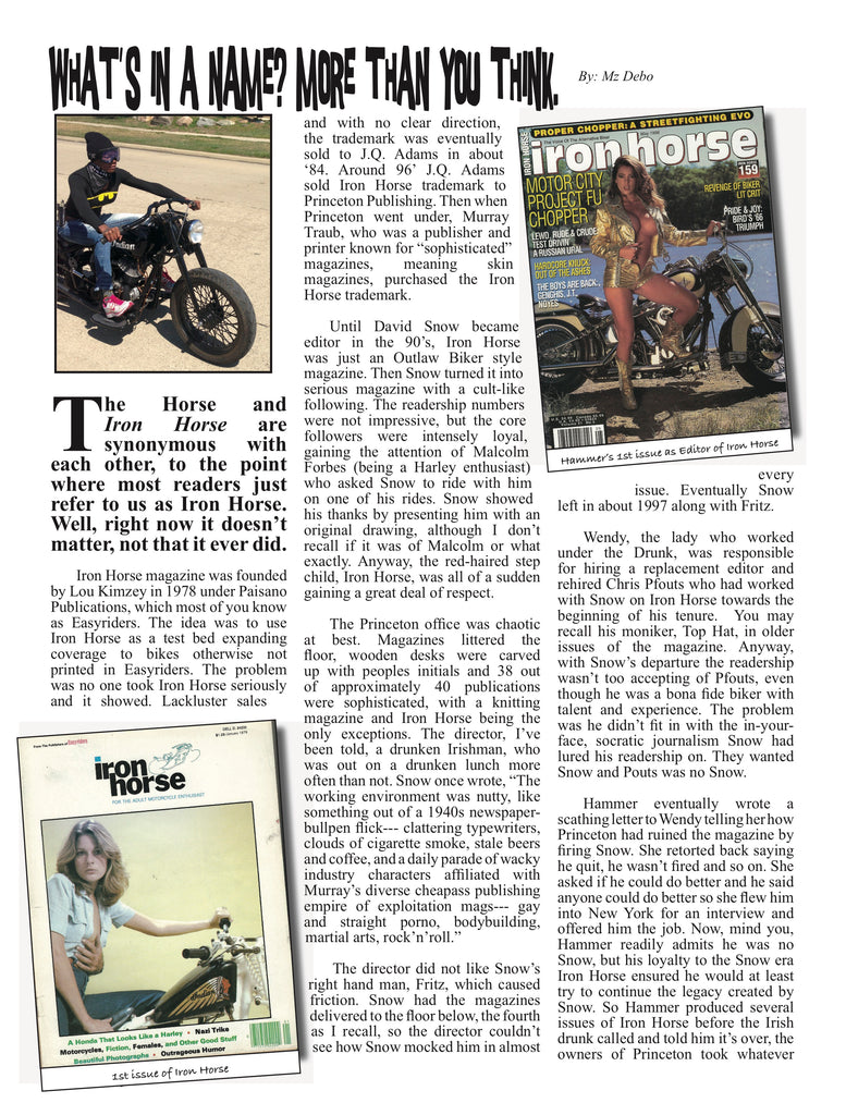 Iron Horse Magazine article page 1