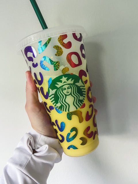 Leopard Rainbow Starbucks Reusable Cup!