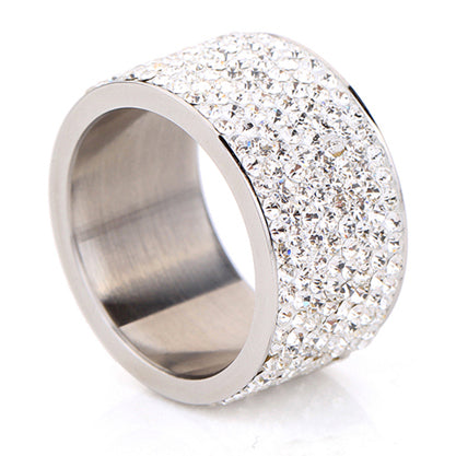 Iced Out Pinky Ring Full Rhinestone Wedding Ring For Women Crystal