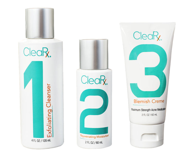 3 Bundle Special Offer - CleaRx 3-Step Maximum Strength Moderate to Severe & Stubborn Acne Treatment System
