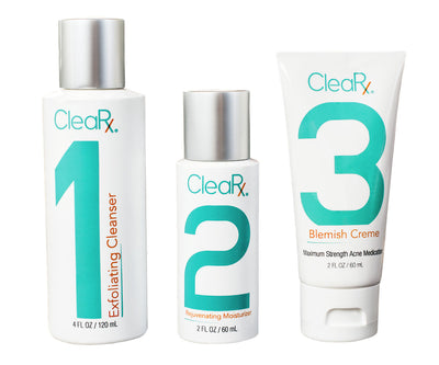CleaRx 3-Step Maximum Strength Moderate to Severe & Stubborn Acne Treatment System - Special Offer