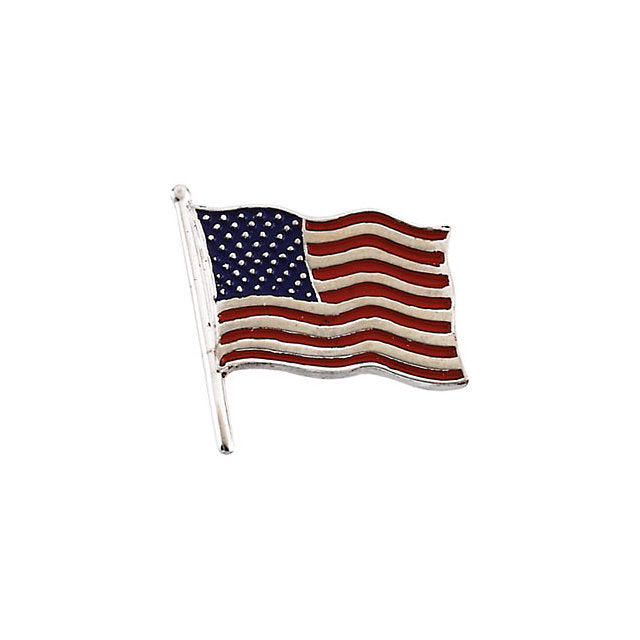 14K White 14.5x14mm American Flag Lapel Pin-Pins-Needjewelry.com