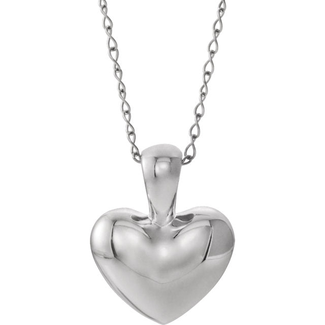 "14K White Heart Youth 15"" Necklace"
