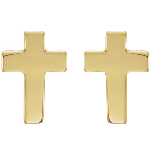 14K Yellow Gold 7x5mm Cross Earrings
