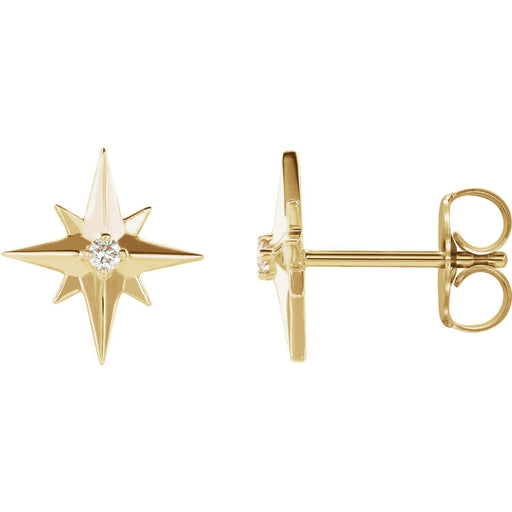 14K Yellow, Rose or White Gold  .03 CTW Diamond Star Earrings