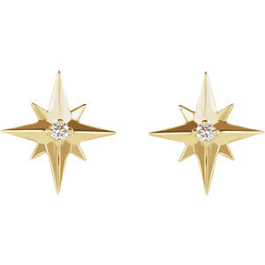 14K Yellow, Rose or White Gold .03 CTW Diamond Star Earrings-Earrings-Needjewelry.com