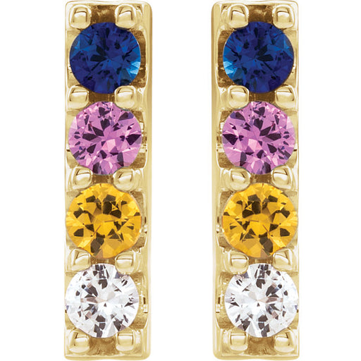 14K Yellow Gold Multi-Color Sapphire Earrings
