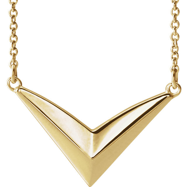 "14K Yellow Gold ""V"" Necklace-Necklaces-Needjewelry.com"