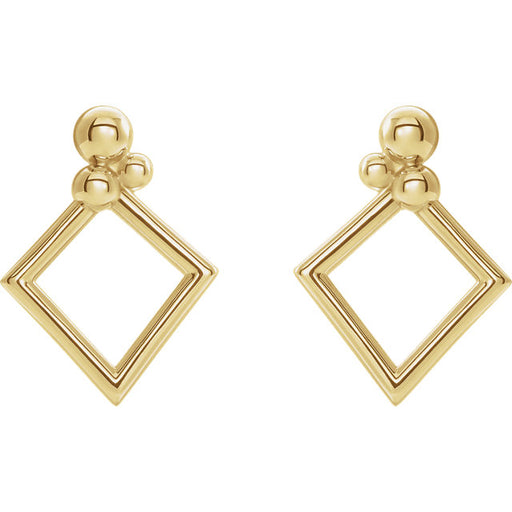 14K Yellow Gold Geometric Earrings-Earrings-Needjewelry.com