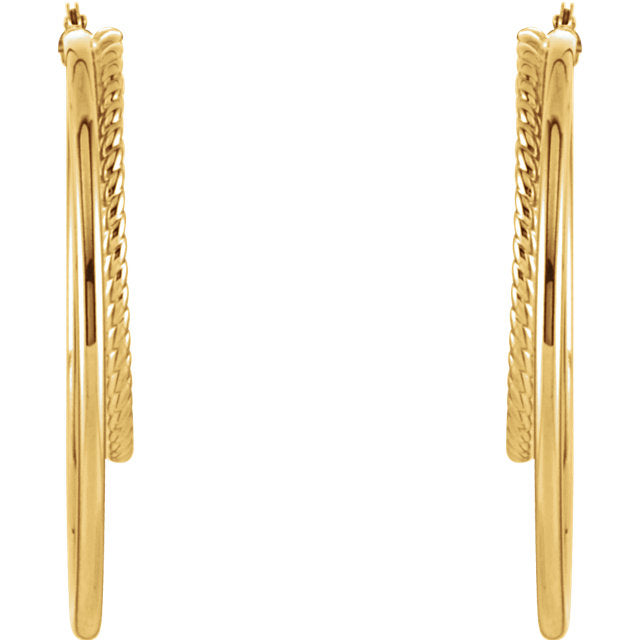 14K Yellow Gold Oval Double Hoop Earrings-Earrings-Needjewelry.com