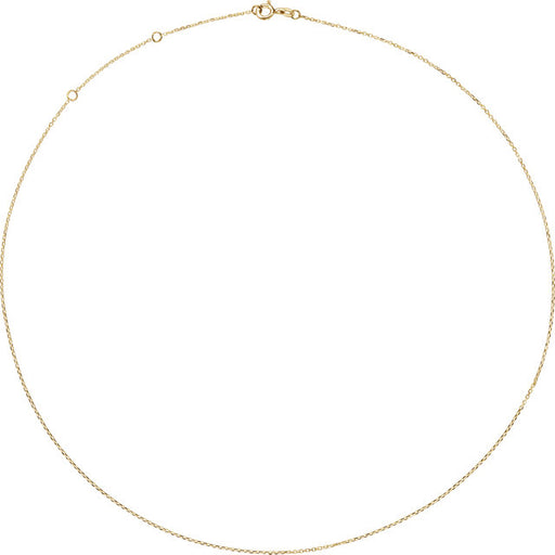"14K Yellow 1mm Adjustable Diamond Cut Cable 16-18"" Chain"