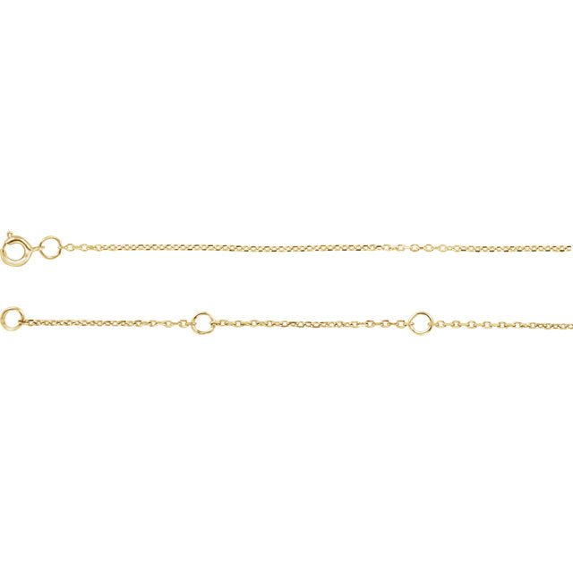"14K Yellow 1mm Adjustable Diamond Cut Cable 16-18"" Chain-Chains-Needjewelry.com"