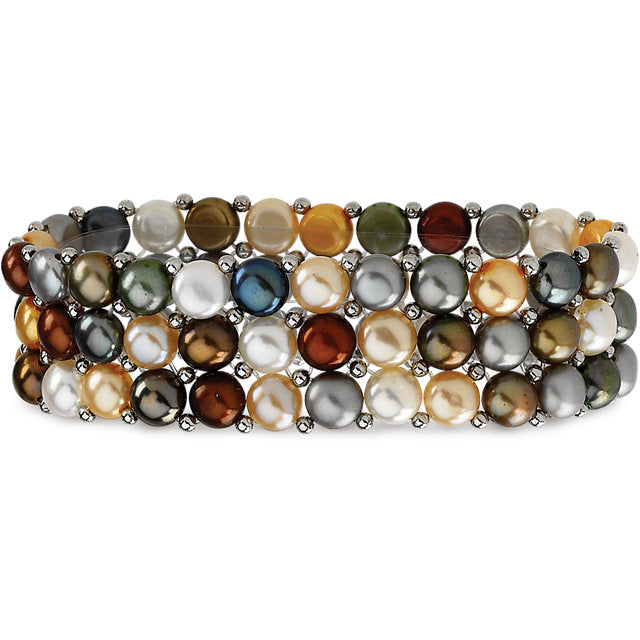 Sterling Silver Freshwater Cultured Multi-Colored Pearl 3 Row Stretch Bracelet-Bracelets-Needjewelry.com