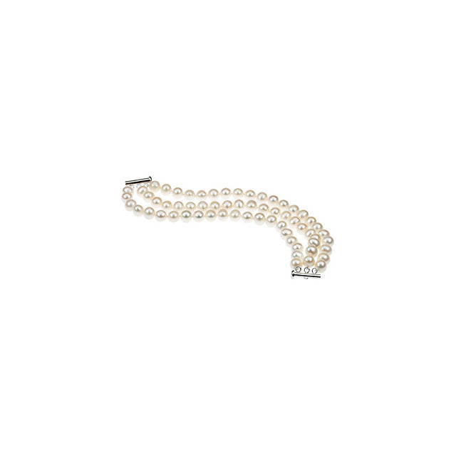 "Sterling Silver 8-9mm Freshwater Cultured Pearl Triple Strand 7.25"" Bracelet-Bracelets-Needjewelry.com"