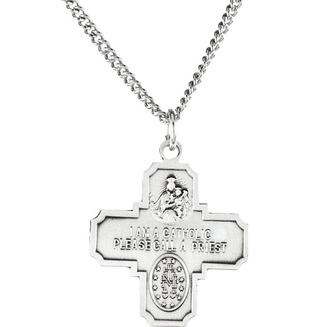 "Sterling Silver 25x24mm Four-Way Cross Medal 24"" Necklace-Necklaces-Needjewelry.com"