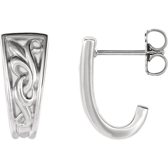 Sterling Silver Vintage-Inspired J-Hoop Earrings-Earrings-Needjewelry.com