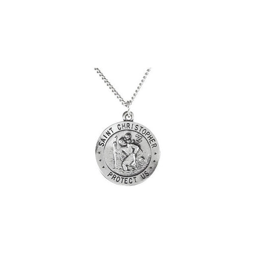 "Sterling Silver 18mm Reversible St. Christopher/U.S. Army Medal 18"" Necklace"