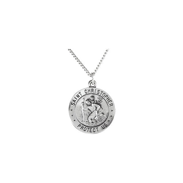 "Sterling Silver 18mm Reversible St. Christopher/U.S. Army Medal 18"" Necklace-Necklaces-Needjewelry.com"