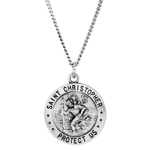 "Sterling Silver 18mm Reversible St. Christopher/U.S. Coast Guard Medal 18"" Necklace"