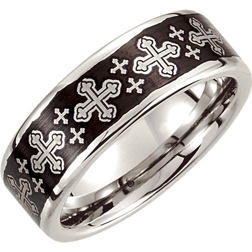 Cobalt 8mm Black Laser Cross Design Band - VERY LIMITED QUANTITY
