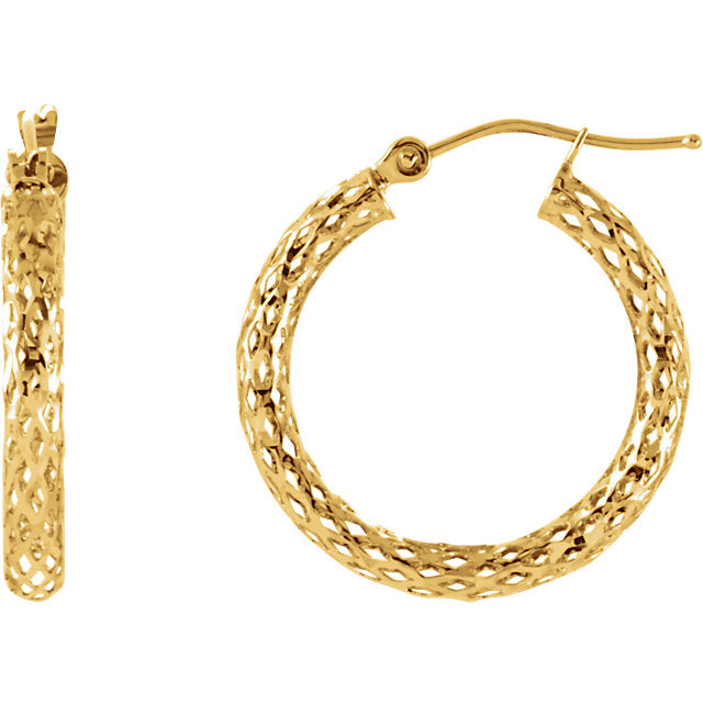 Diamond Cut Hoop Earrings in 14K Yellow Gold-Earrings-Needjewelry.com