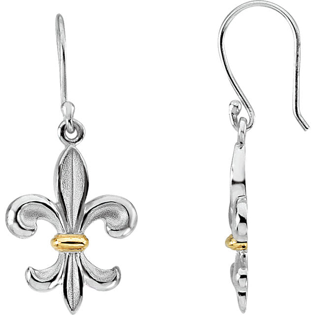 Sterling Silver & 14K Yellow Fleur-de-lis Earrings-Earrings-Needjewelry.com