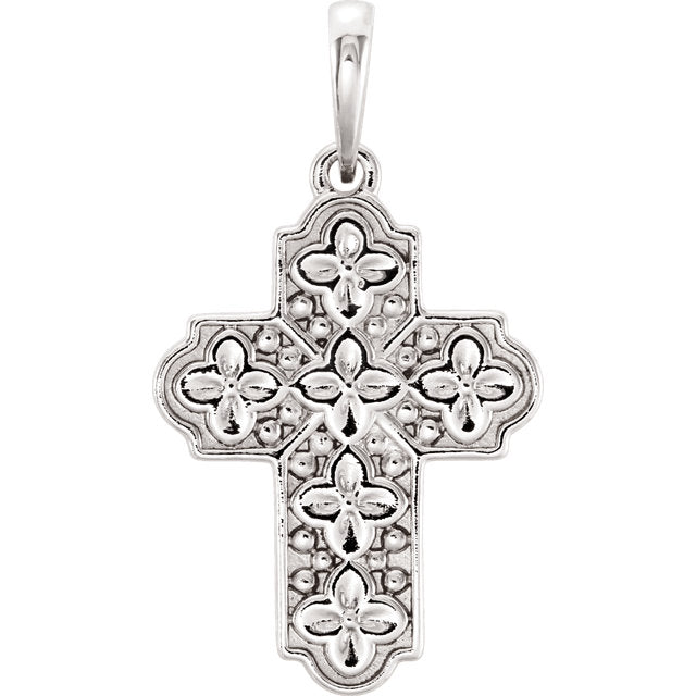 Sterling Silver Ornate Floral-Inspired Cross Pendant-Pendants & Charms-Needjewelry.com