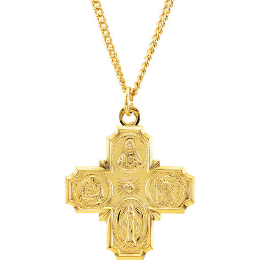 "24K Gold Plated 34.51x28.96mm Four-Way Cross 24"" Necklace"