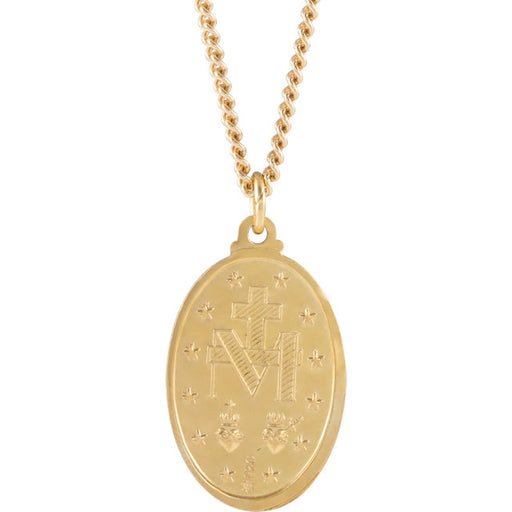 "24K Gold Plated 29x18mm Miraculous 24"" Necklace"