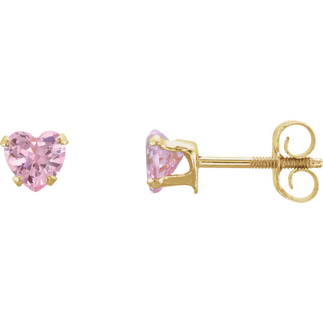 14K Yellow Gold Pink Cubic Zirconia Youth Heart Earrings-Earrings-Needjewelry.com
