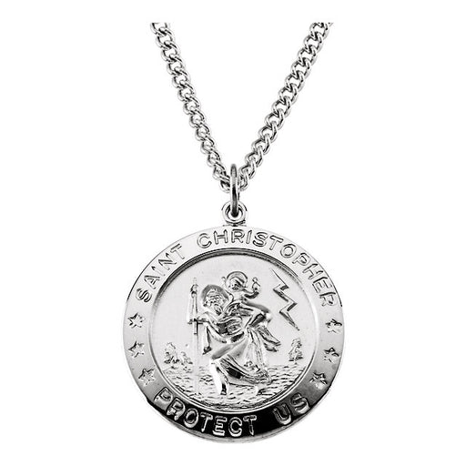 "Sterling Silver 25mm St. Christopher Medal 24"" Necklace"