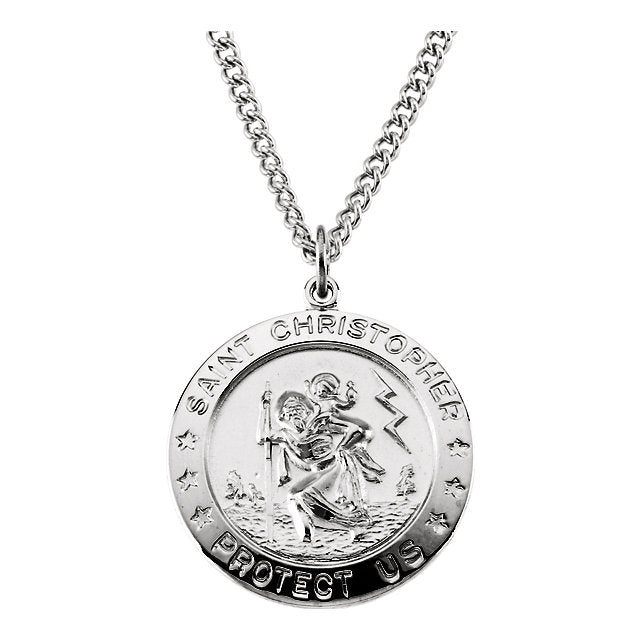 "Sterling Silver 25mm St. Christopher Medal 24"" Necklace-Necklaces-Needjewelry.com"