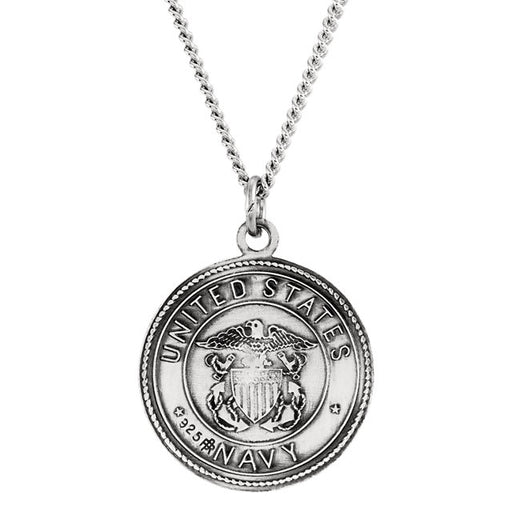 "Sterling Silver 18mm Reversible St. Christopher/U.S. Navy Medal 18"" Necklace"