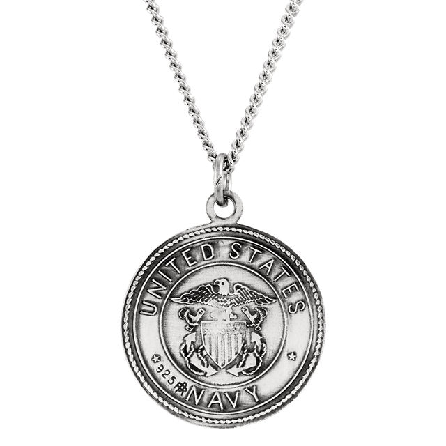 "Sterling Silver 18mm Reversible St. Christopher/U.S. Navy Medal 18"" Necklace-Necklaces-Needjewelry.com"