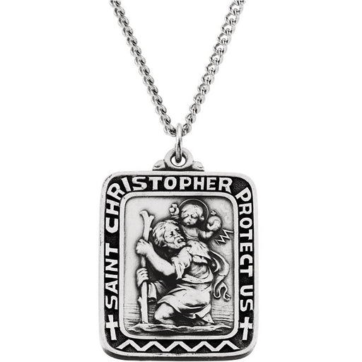 "Sterling Silver 31.5x26mm Rectangular St. Christopher Medal 24"" Necklace"