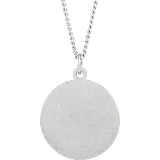 Sterling Silver 18mm Round St. Francis of Assisi Medal Necklace