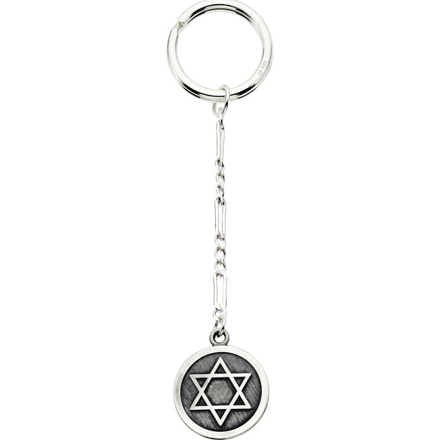 Sterling Silver 23mm Star of David Key Chain-Other Merchandise-Needjewelry.com