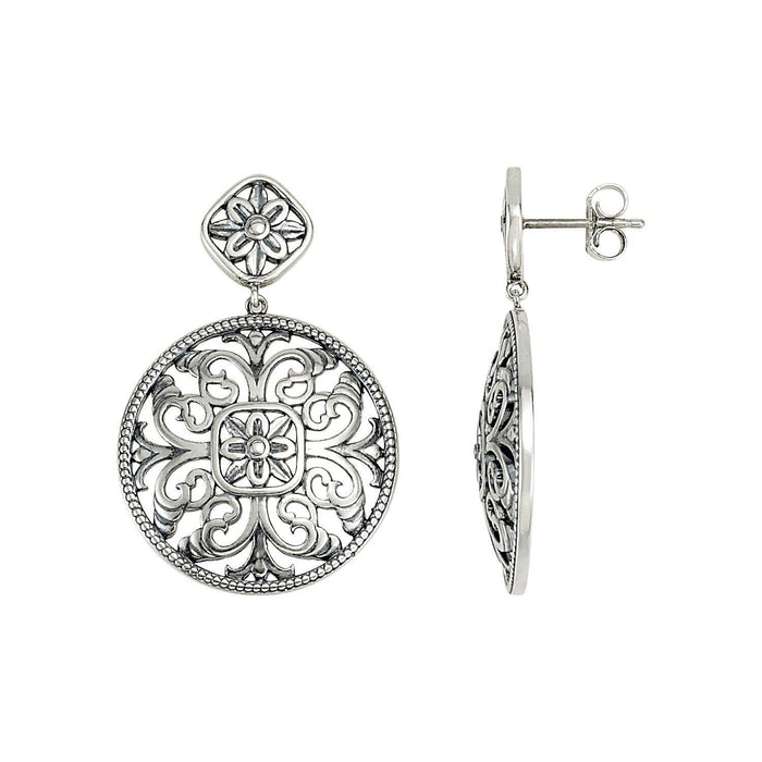 Sterling Silver & 14K White Filigree Earrings-Earrings-Needjewelry.com