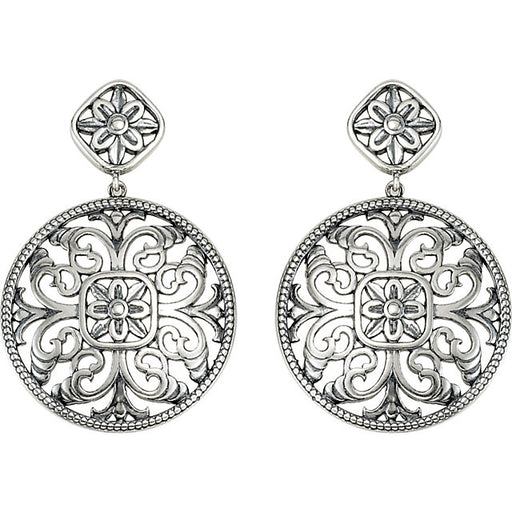 Sterling Silver & 14K White Filigree Earrings